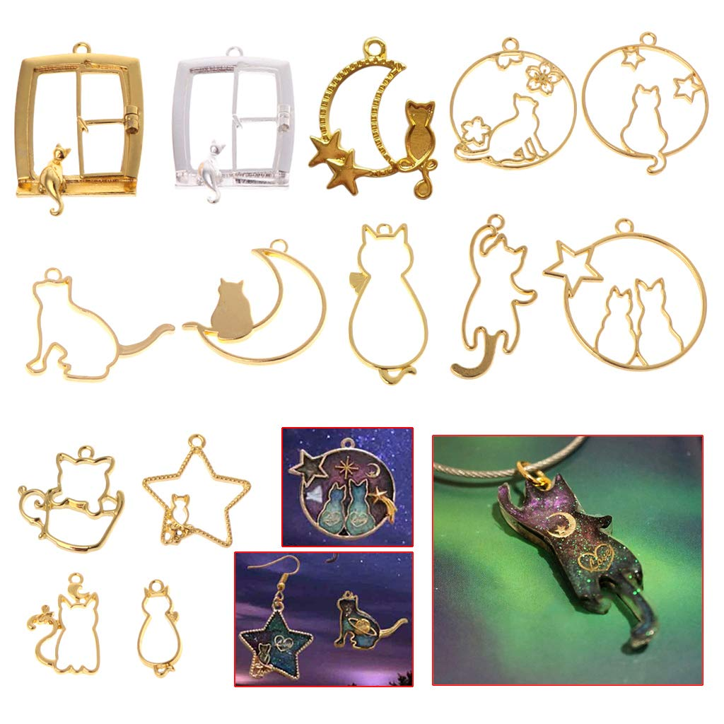 Hollow UV Epoxy Necklace Jewelry Making Material Hibye 14Pcs//Set Cat Kitten Shape Crystal Glue Metal Frame Bezel Pendant