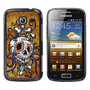 Eason Shop / Hard Slim Snap-On Case Cover Shell - Skull Octopus Floral Gold Purple - For Samsung Galaxy Ace 2 I8160 Ace II X S7560M