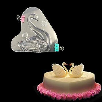 Molde de plástico para chocolate en forma de zapato de cisne 3D, policarbonato, dulces, gelatina, masa, bricolaje, herramientas de decoración para hornear: ...