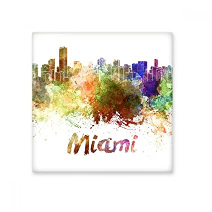 Miami America Country City Watercolor Illustration Ceramic Bisque - Discount tiles miami