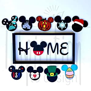 QPGVBP Mi-ckeys Inspired Home Sign -Welcome to Our Home DIY Home Interchangeable Icons for Home Signs Home Decor Sign
