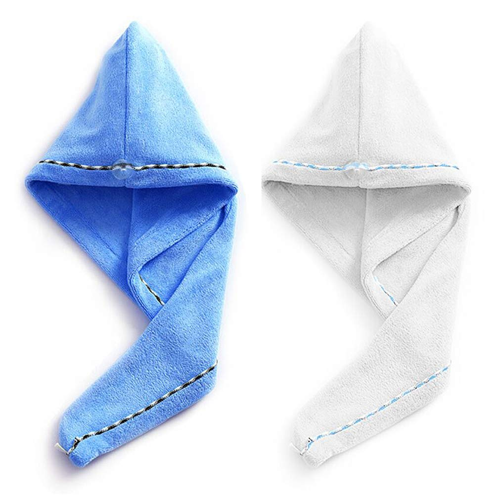 Microfiber Hair Towel Wrap, Duomishu Super Absorbent Anti-Frizz Hair Turban Wrap Fast Drying Hair Cap with Buttons for Women Girls Mom Daughter, 2 Pack (White/Blue)