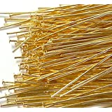 400 Head Pins .029dia X 1 Inch Gold Plating Over Brass Standard 21 Gauge Wire Beadsmith Headpins