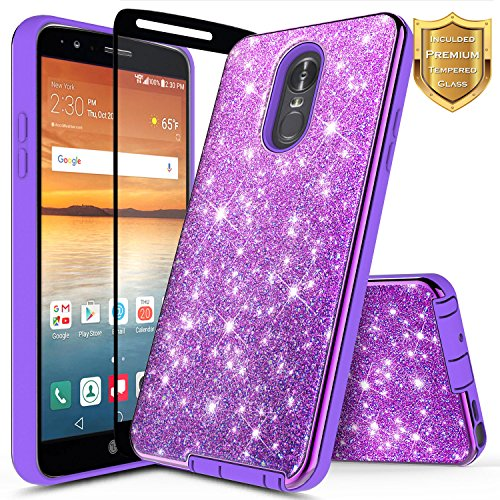 LG Stylo 4 Case, LG Stylo 4 Plus Case, LG Q Stylus w/[Full Cover Tempered Glass Screen Protector], NageBee Glitter Sparkle Shiny Bling Hybrid Shockproof Protective Cute Case -Electroplate Purple
