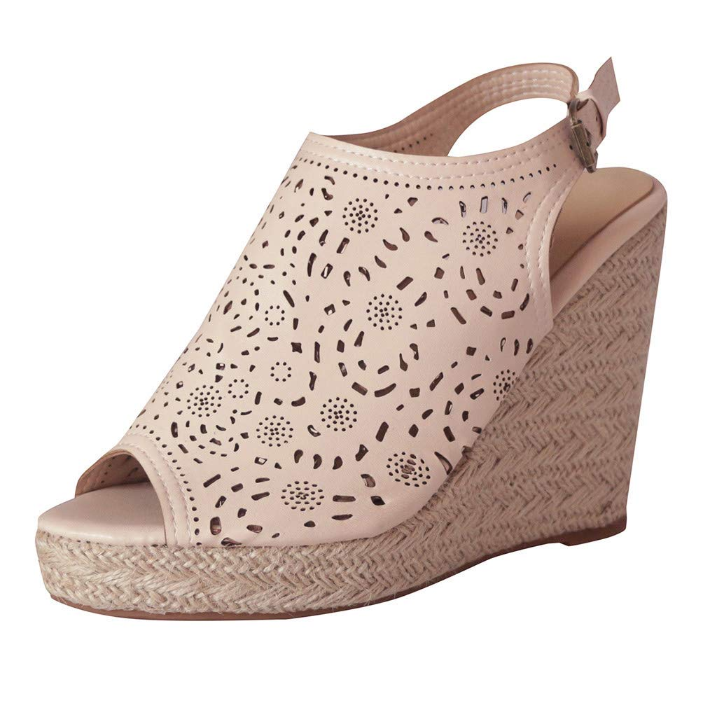 LUCAMORE Womens Fashion Hollow Wedges Peep Toe Straw Thick Bottom Shoes Roman Sandals