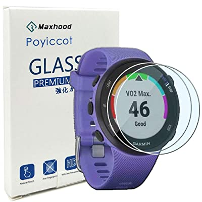 Poyiccot for Garmin Forerunner 45/45S Tempered Glass Screen Protector, (2pack) Ultra-Thin 9H Hardness Scratch Resistant Screen Protector Film forGarmin Forerunner 45/45S Smartwatch