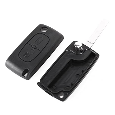 Key Cover - SODIAL(R) 2 Buttons Case V2 Car Key Control Cover for PEUGEOT 207 307 308 407 607