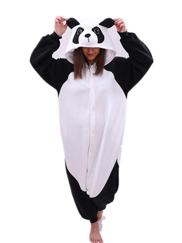 Animal Onesie Panda Pajamas- Plush One Piece Costume (Medium, Black/White)