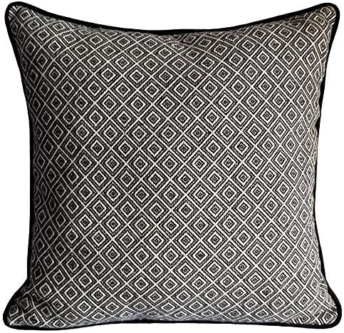 Amazon Com Pillowerus Cotton Woven Diamond Pattern Black White 18x18 Pillow Cover Square Decorative Geometric Sham Cushion Case With Black Satin Piping For Home Decor Couch Sofa Patio Home Kitchen