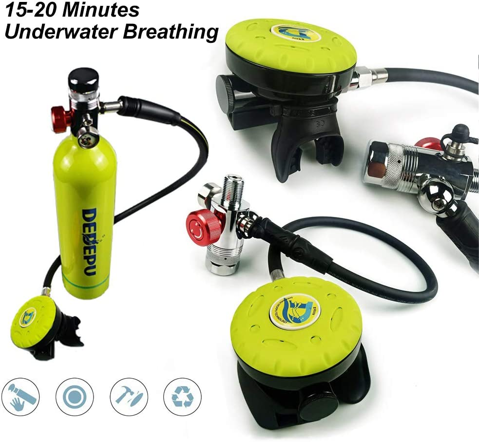 Diving Respirator Equipment for Swiming Snorkeling Rescue BESTSUGER Scuba Diving Tank Set 1L Portable Diving Oxygen Cylinder Equipment Kit with 15-20 Minutes Underwater Breathing