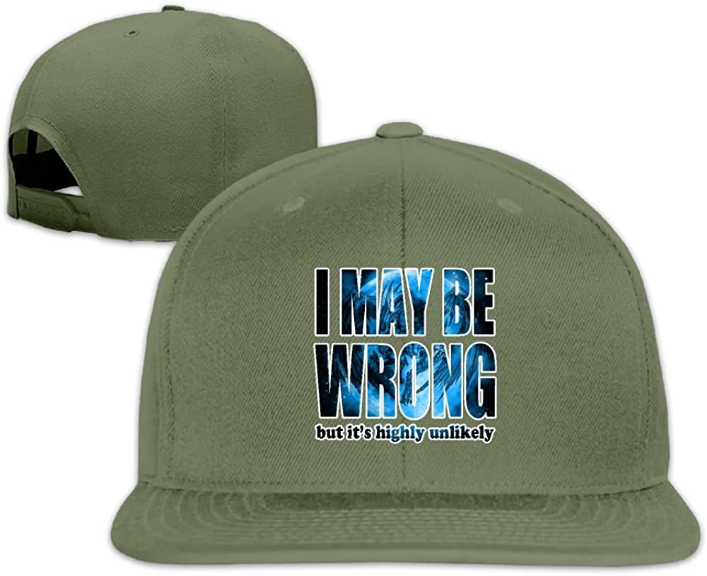 Thirdoone Unisex I May Be Wrong But Its Highly Unlikely Flat Bill Baseball Cap Lightweight Snapbacks Hat