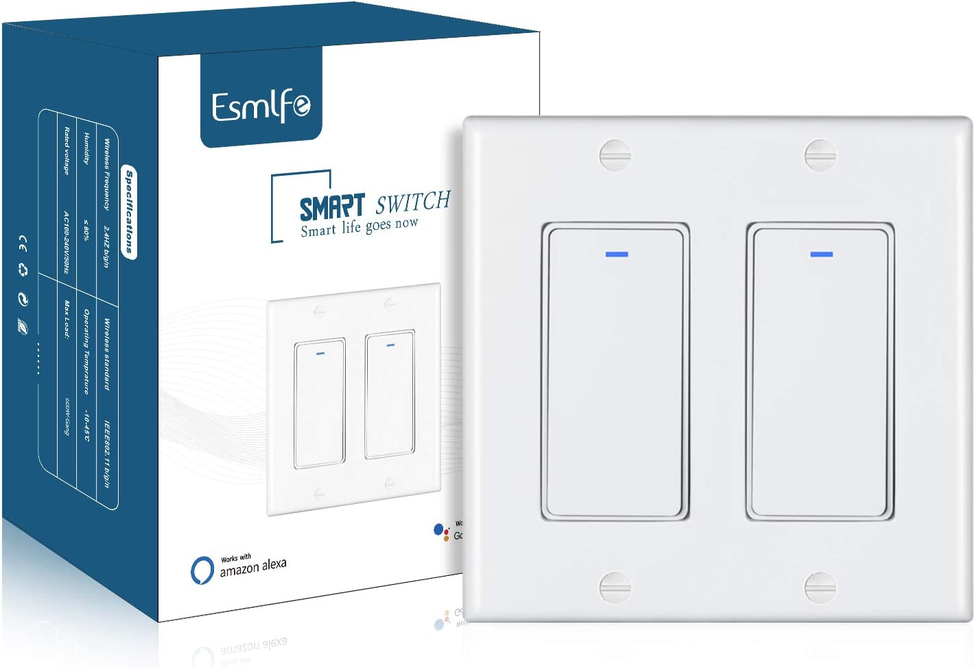 Esmlfe Smart Switch, Push Button Smart 2.4Ghz WiFi Ligh Switch Compatible with Alexa, Google Home and IFTTT, with Remote Control and Timer, Neutral Wire Needed, Single Pole, No Hub Required, 2 Gang