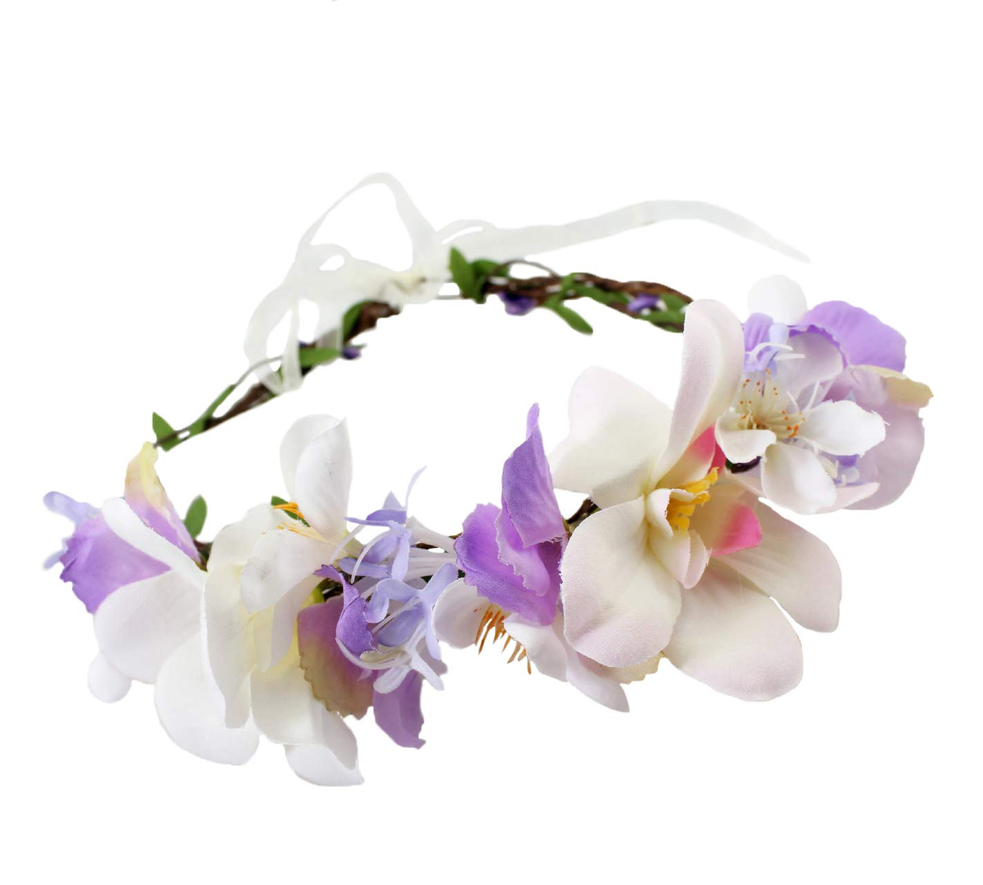 Vivivalue Handmade Boho Flower Crown Hair Wreath Halo Floral Garland Headband Headpiece with Ribbon Festival Wedding Purple