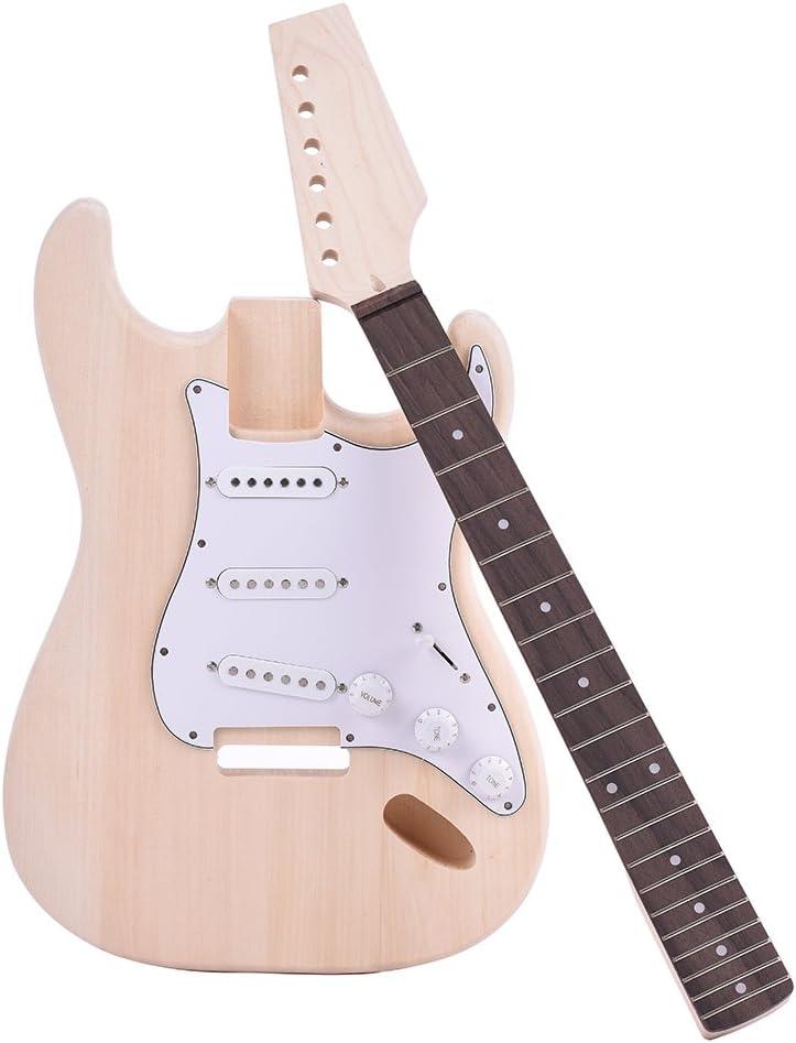ammoon Guitarra Eléctrica Estilo ST Cuerpo de Tilo Maple Neck Diapasón de Palisandro Kit de Bricolaje