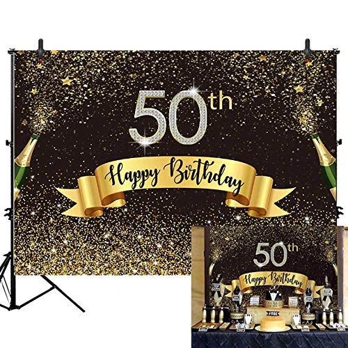 Allenjoy 7x5ft Glitter Gold and Black Happy 50th