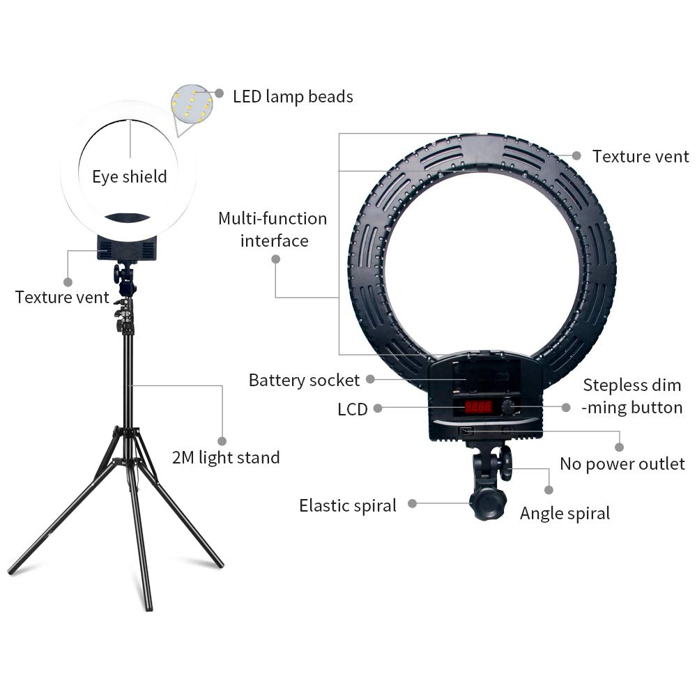 Kshioe Upgraded 12'' Dimmable LED Ring Light, Adjustable 2700-5500K Color Temperature Circle Light with 78 Inch Light Stand & Table Top Stand, Camera Phone Holder, Carring Case for Video Shooting by Kshioe (Image #4)