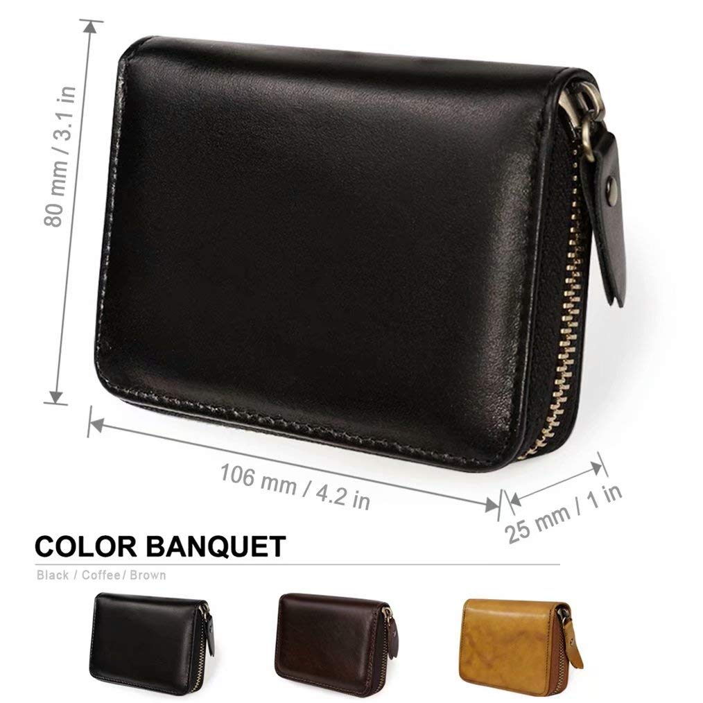 GADIEMKENSD Credit Card Holder RFID Blocking Leather Wallet Cute for Women and Man Coin Purse Protector Small Cards Case With Ladies Zipper Security Wallets Black