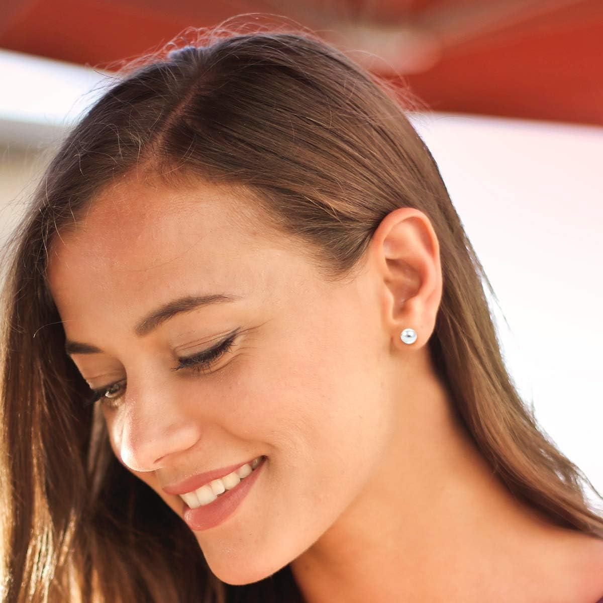 DTPsilver 2,3,4,5,6,8,10,12 mm Tailles Boucles doreilles Femme en Argent Fin 925 Boule Fermoir clou