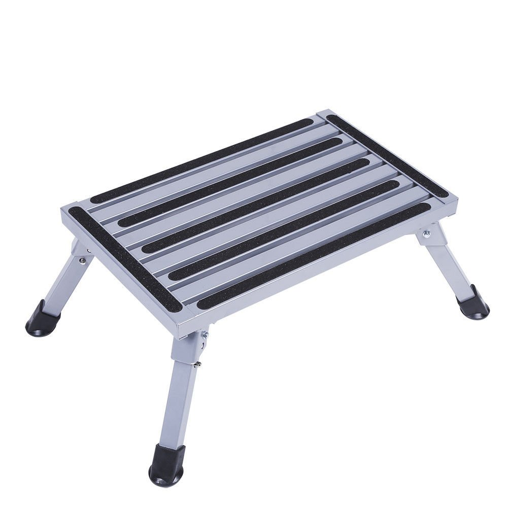 Portable Folding Aluminum Platform Step For RV Trailer Camper Work Stool Ladder