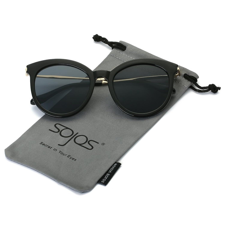 SojoS Lunettes de Soleil Rond Miroités avec UV Protection pour Femmes SJ2034 avec Noir/Gris rXcAA1