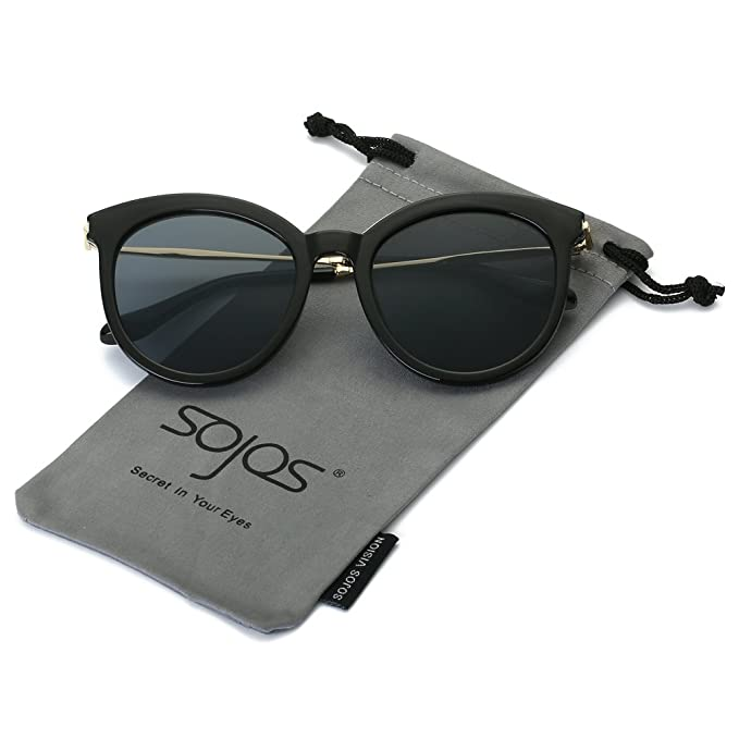 SojoS Schick classici ponti retrò Specchio rotondo occhiali da sole donne SJ2034 con Nero Telaio/Grigio Lente lcRMUidrT