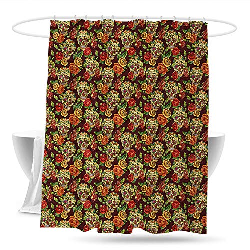 huangfuzz Sugar Skull Bathtub Splash Guard Autumn Colored Flowers and Leaves Patterns in Smily Head Bones Waterproof Colorful Funny 70in×70in Light Green Yellow Orange