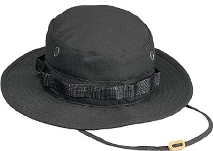 Amazon.com  Black Military Boonie Hat (Cotton Rip-Stop)  Clothing 835778a255e