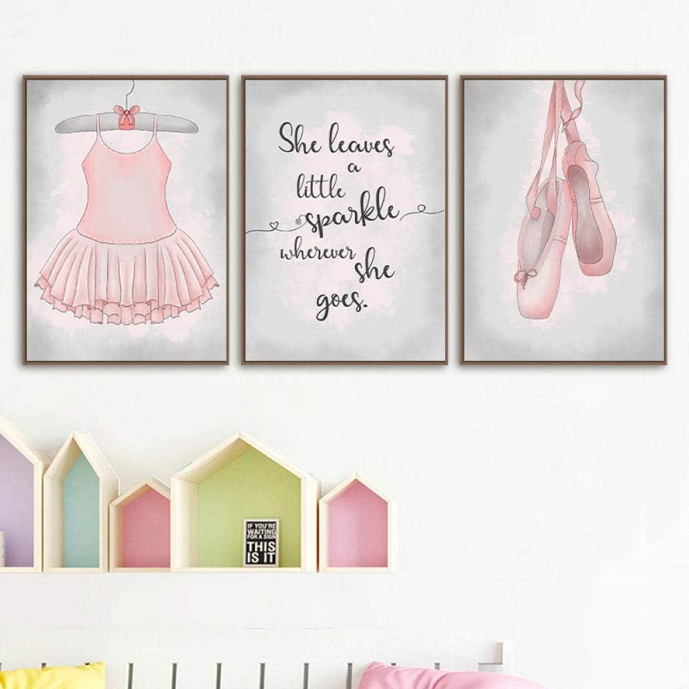 Poster e stampe di ballerini Decorazioni per la stanza delle ragazze Ballerina Immagini per quadri su tela Pittura per bambini Nursery Decorazione per pareti Regali per ragazze No Frame-30x40cmX3