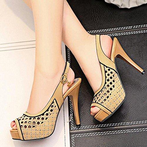 Femmes L Mariage Scrubs Haut Rouge De yc Noir Yellow ¨¦t¨¦ Sandales Chaussures Poissons Printemps Talon Jaune FUSnCU5qxw