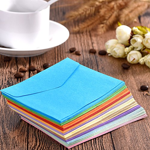 Bememo 60 Pieces Mini Envelopes Multi Color Cute Lovely Envelopes (4.6 x 3.2 Inch) for Gift Card Wedding, Birthday Party Supplies Photo #4