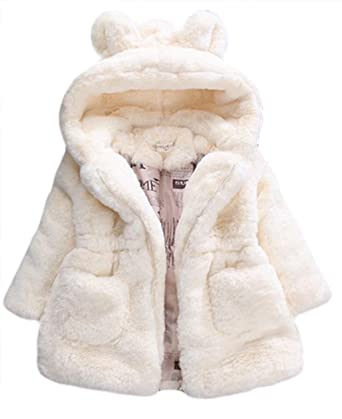 2446067972ff Amazon.com  Kid Girls Fur 3D Cartoon Ear Hooded Coats Winter Thick ...