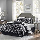 Black and White Bed Sets King Madison Park MPE10-122 Essentials Merritt Complete Bed & Sheet Set King black,King
