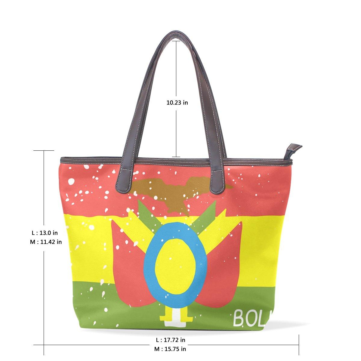 Distressed Bolivia Flag Womens Fashion Large Shoulder Bag Handbag Tote Purse for Lady