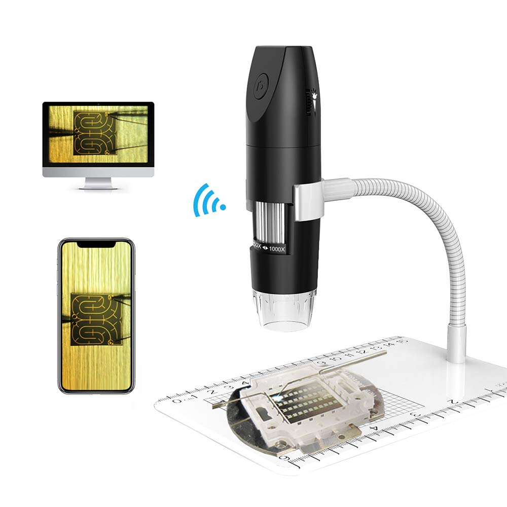 Wireless WiFi Digital Microscope,1080P Handheld WiFi Microscope Camera 50X to 1000X Magnification, 8 Adjustable LED USB2.0 with Flexible Metal Stand, Compatible with Android, iOS, Windows, Mac by Anduin Technology