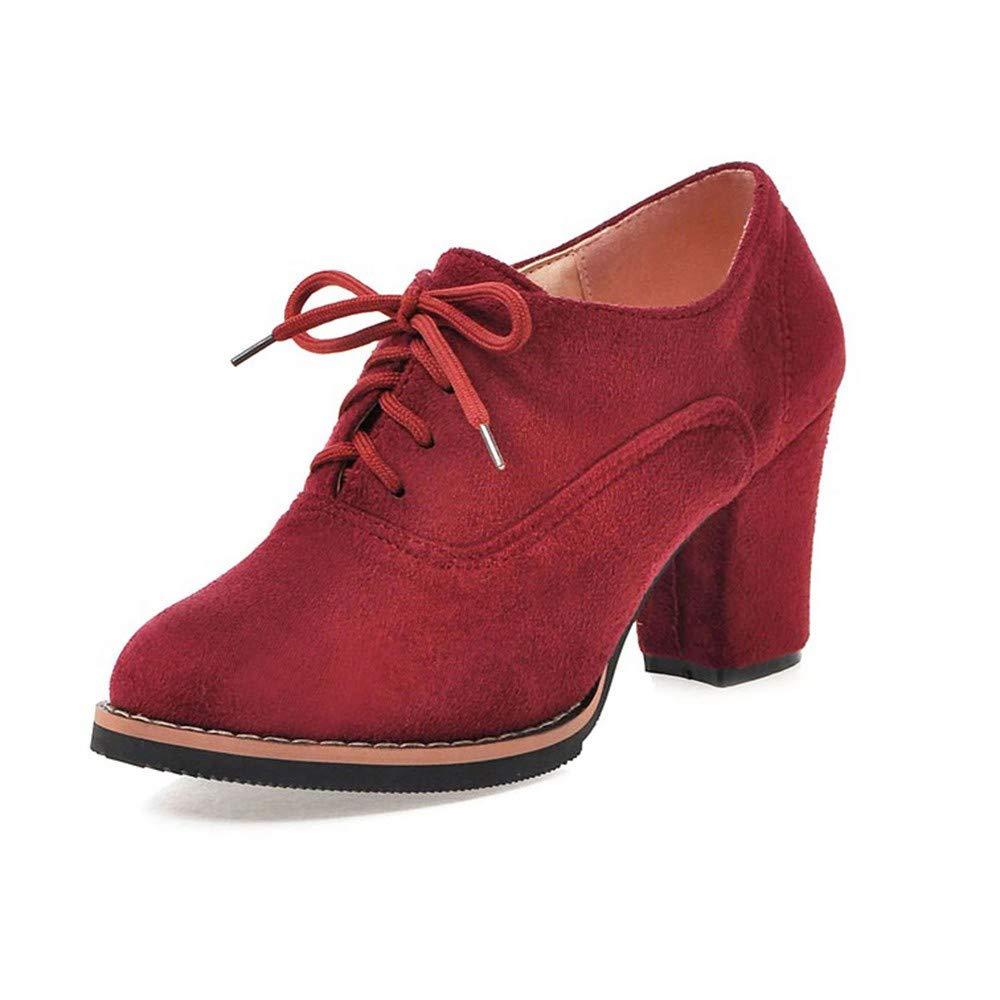 Chaussures Femmes.Sonnena Femmes Bottes Couleur Unie Lacer Haute Épais Carré Troupeau Bottines Chaussures à Bout Rond