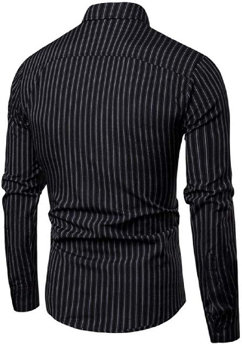YYear Mens Striped Casual Slim Long Sleeve Button Down Dress Shirts