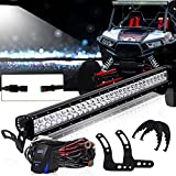 TURBOSII 30 32 Inch Straight Led Light Bar W/Upper Roof Windshield Mount Mounting Bracket Kits w/DT Waterproof Plug Wiring Harness Kits Rocker Switch For 2014 2015 2016 POLARIS RZR 900 900S XP 1000