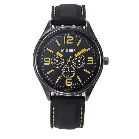 JiaMeng Relojes Pulsera Hombres Correa de Silicona de los Hombres de Moda Reloj de Pulsera de Cuarzo Horas de la muñeca de Cool Sport Deportivo(Amarillo): ...