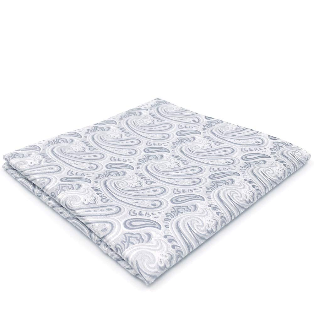 Shlax & Wing Silver Paisley Pocket Square Silk Mens Hanky Grey Silk AH31
