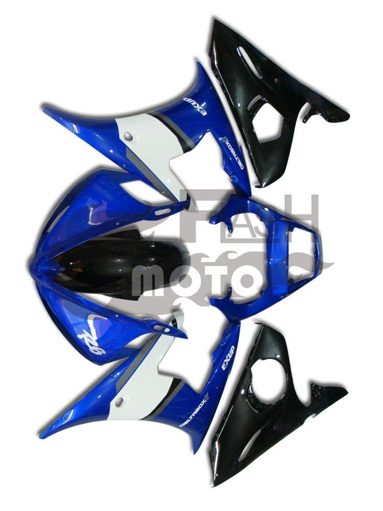 FlashMoto yamaha ヤマハ YZF-600 R6 2005用フェアリング 塗装済 オートバイ用射出成型ABS樹脂ボディワークのフェアリングキットセット (ブルー,ブラック)   B07LF27PSP