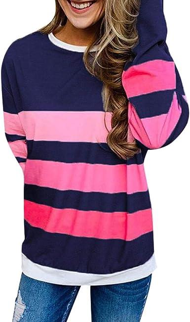 RISTHY Camisa de Manga Larga Tallas Grandes Mujer Camisetas Rayas Elegantes Blusa Cuello Redondo Blusas Tops Otoño Invierno Blusa Camisa Sudadera Shirts: Amazon.es: Ropa y accesorios