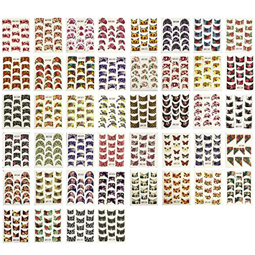 - Wrapables French Tip Art, Print Water Nail Decals (44 Sheets), Floral and Animal