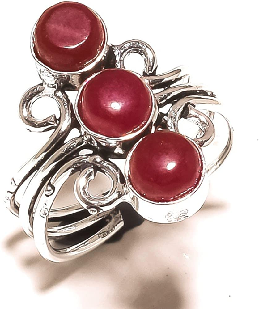 Designer Jewelry Red Dyed Ruby Handmade Jewellry 925 Sterling Silver Plated 5 Grams Ring Size 8.5 US