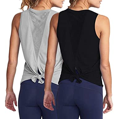 INIBUD Yoga Tops for Women Self Tie Back Mesh Yoga Tank Yoga ...