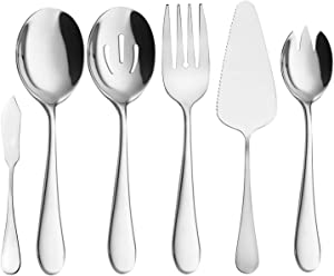 Buffet Serving Utensils, Serving Spoons, AOOSY 6 Pieces Basics Stainless Steel Serving Set Flatware Set Knife Fork Spoon Tablespoons For Home Chef Commercial Use Buffet Breakfast Dinner Set
