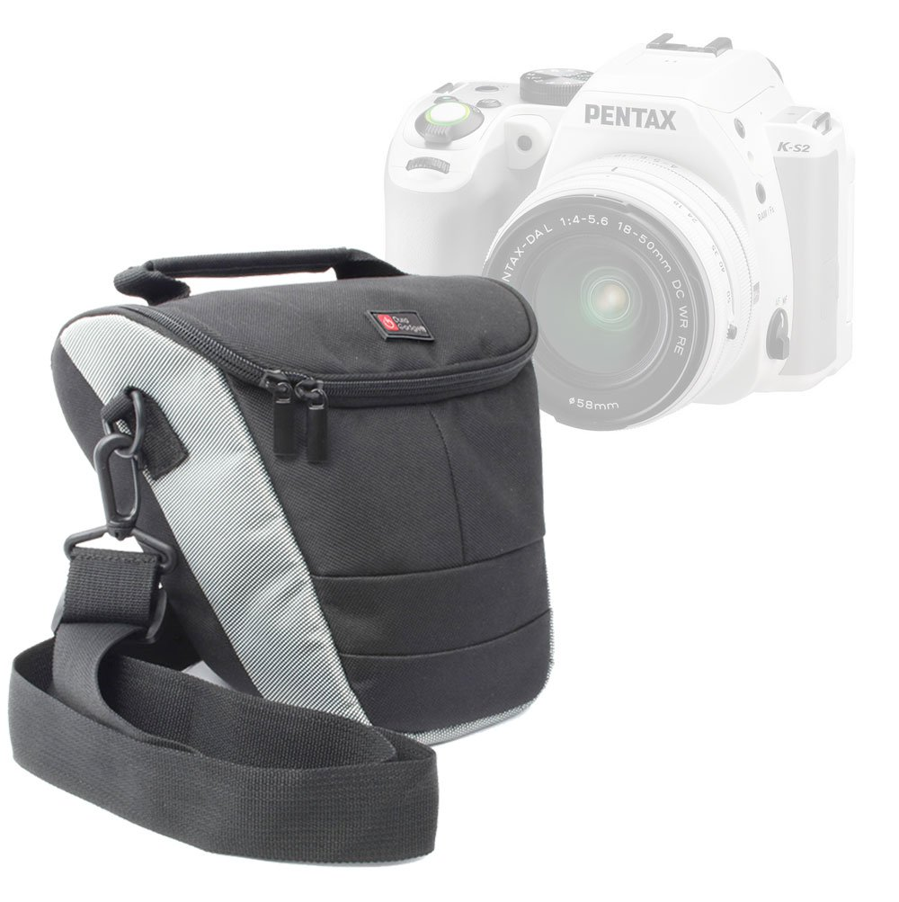 DURAGADGET プレミアム品質 超ポータブルカメラキャリーケース Pentax K-S2 SLRカメラ用 - ショルダーストラップ付き ブラック&グレー B00TISMDZK