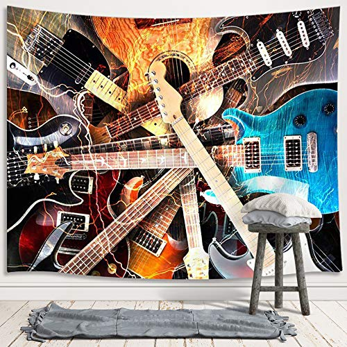 Music Tapestry Wall Hanging, Guitar Musical Instrument Rock Style Lover Premium Home Art Wall Decor, Upgrade Tapestries for Bedroom Living Room College Dorm 71X60 Inches (Rock Tapestry Wall Hanging)