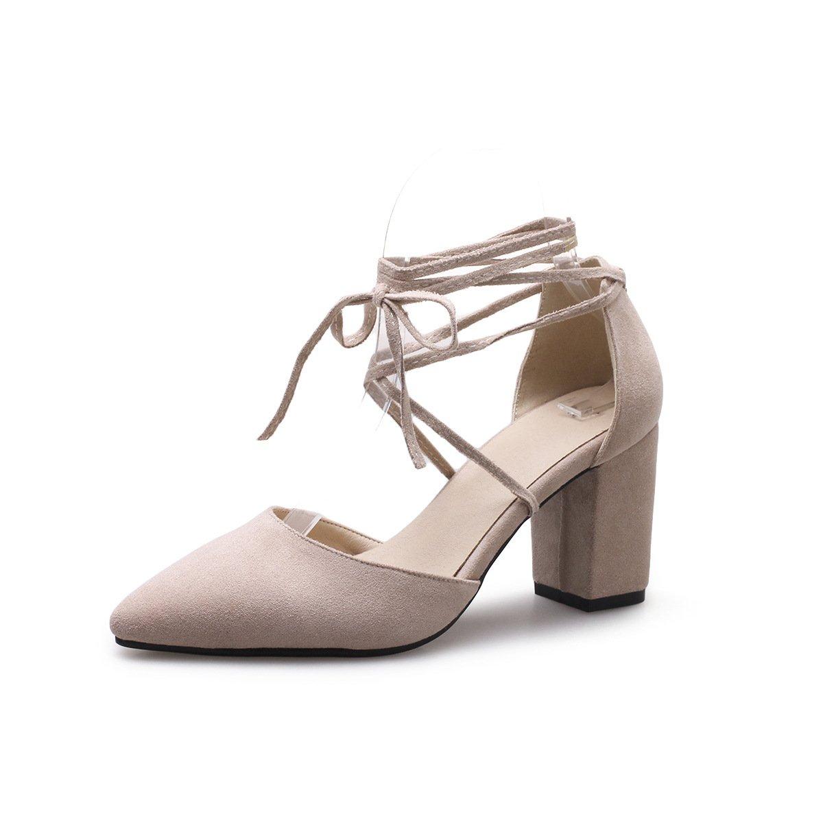 Damen Sandalen Spitzen Flachen Mund Farbe Dick mit Knöchelriemchen Reine Farbe Mund High Heels Aprikose 38 9ef95f