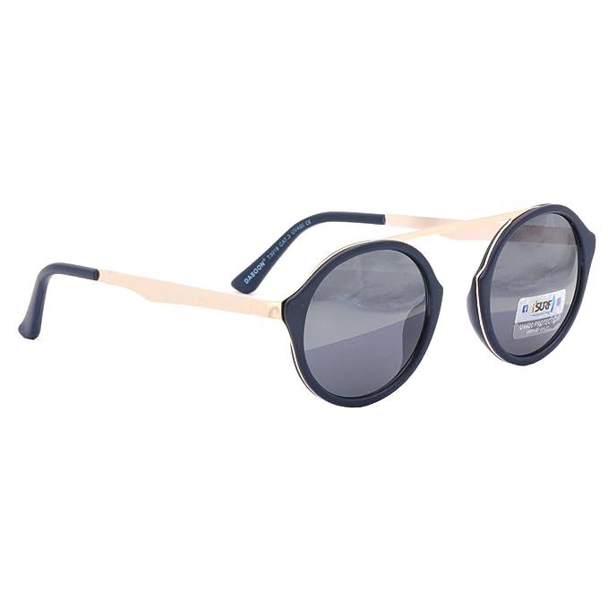 Occhiali Da Sole Marca Isurf Modello Rod Over Round Rotondo Moda Outfit (mont. Nera Lente Nera) EgoZ4n