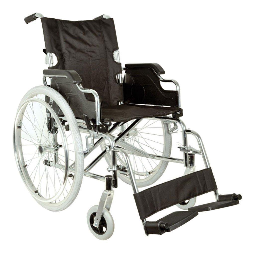 Royal Silla de ruedas con asiento de 46cm, tela negra.